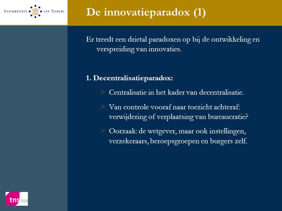 De innovatieparadox (1) Er treedt een drietal paradoxen op bij de ontwikkeling en verspreiding van innovaties. 1. Decentralisatieparadox: >Centralisat