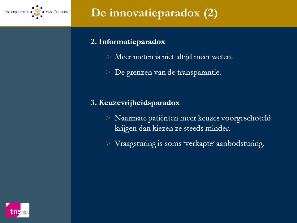 De innovatieparadox (2) 2. Informatieparadox >Meer meten is niet altijd meer weten. >De grenzen van de transparantie. 3. Keuzevrijheidsparadox >Naarma