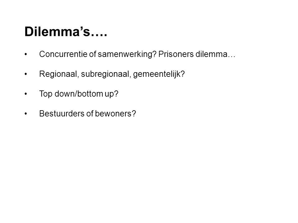 Dilemma's…. • Concurrentie of samenwerking? Prisoners dilemma… • Regionaal, subregionaal, gemeentelijk? • Top down/bottom up? • Bestuurders of bewoner