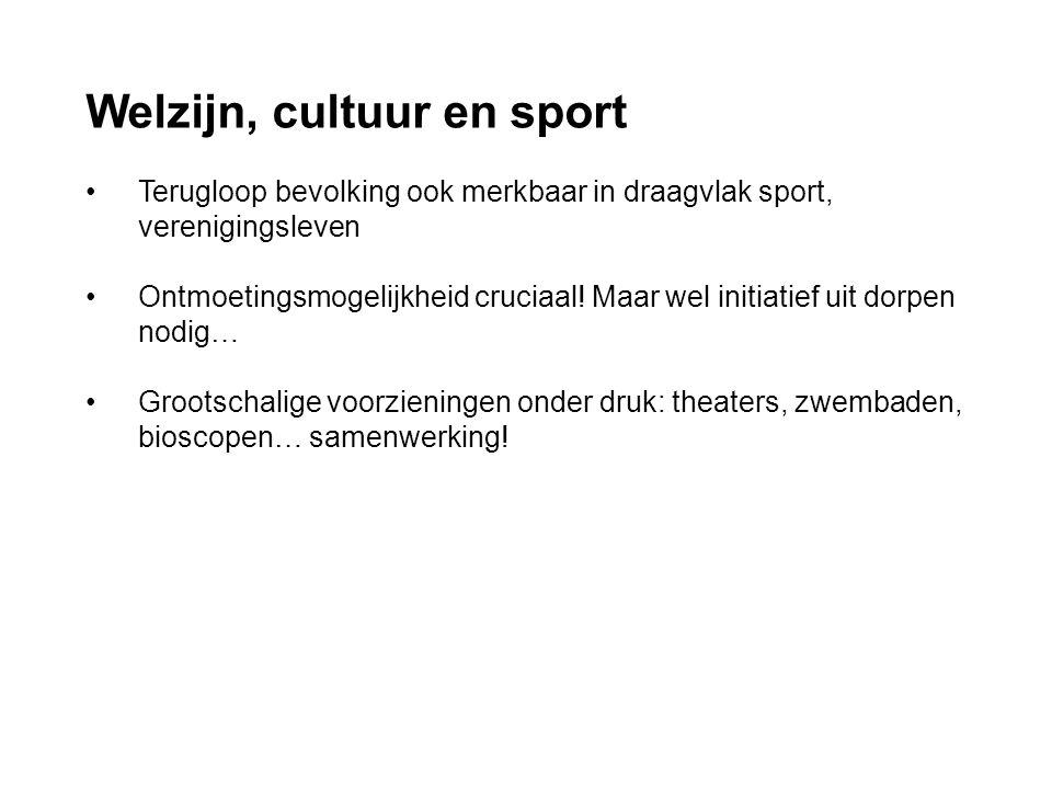 Welzijn, cultuur en sport • Terugloop bevolking ook merkbaar in draagvlak sport, verenigingsleven • Ontmoetingsmogelijkheid cruciaal! Maar wel initiat
