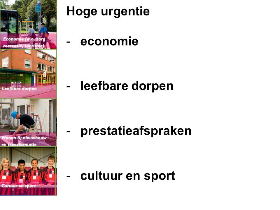 Hoge urgentie - economie - leefbare dorpen - prestatieafspraken - cultuur en sport Wat is onze agenda? dia