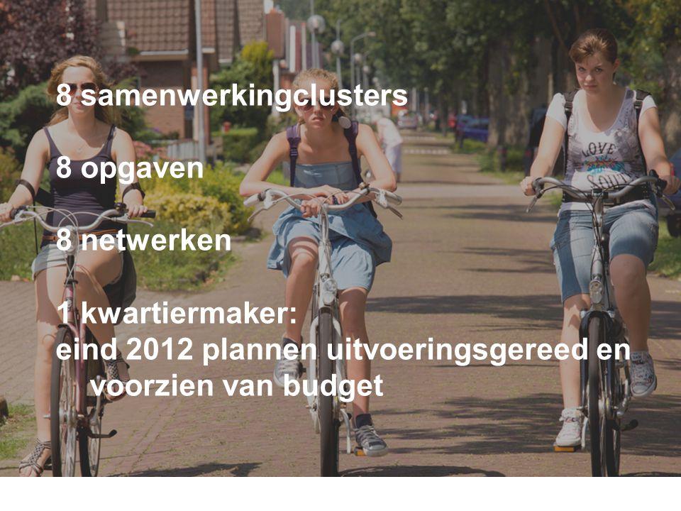 8 samenwerkingclusters 8 opgaven 8 netwerken 1 kwartiermaker: eind 2012 plannen uitvoeringsgereed en voorzien van budget Wat gaan we doen? dia