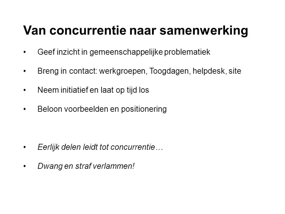 Van concurrentie naar samenwerking • Geef inzicht in gemeenschappelijke problematiek • Breng in contact: werkgroepen, Toogdagen, helpdesk, site • Neem