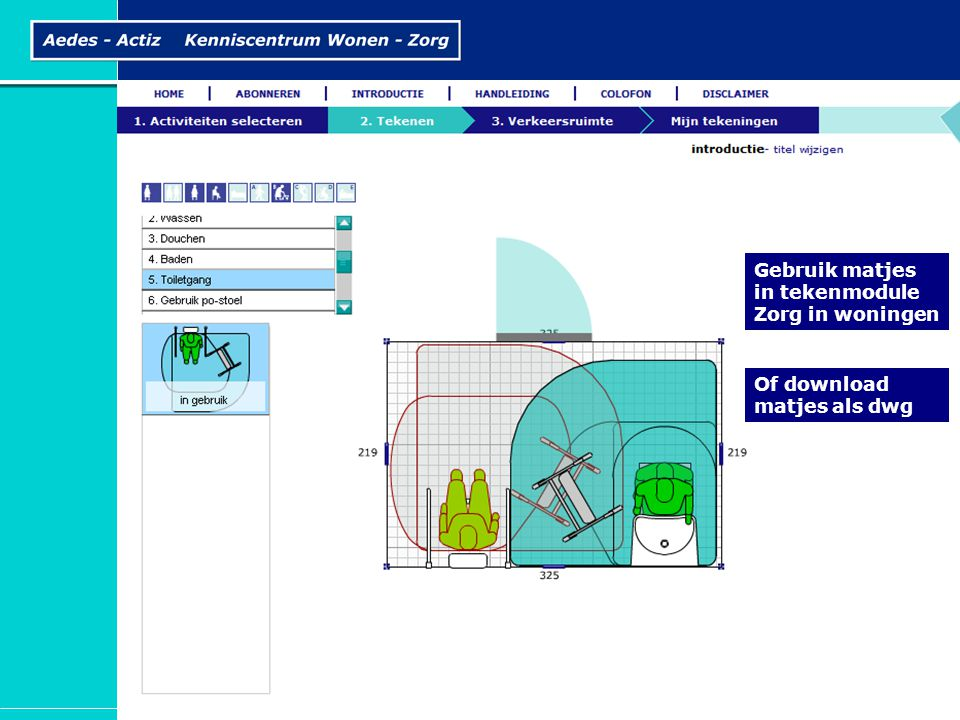 Gebruik matjes in tekenmodule Zorg in woningen Of download matjes als dwg