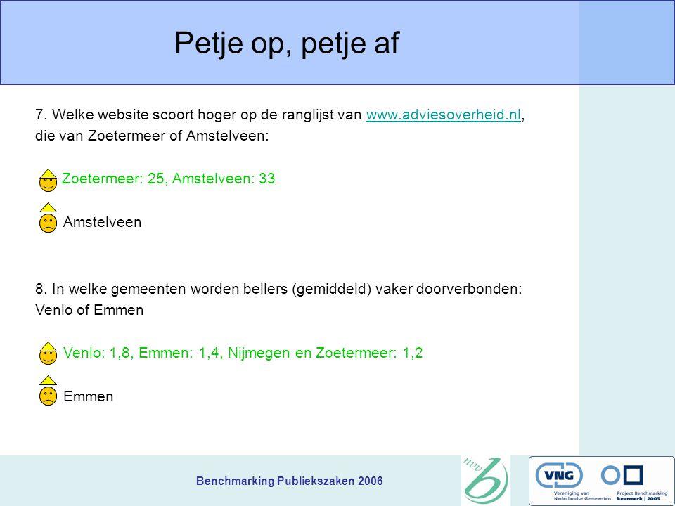 Benchmarking Publiekszaken 2006 Petje op, petje af 5.