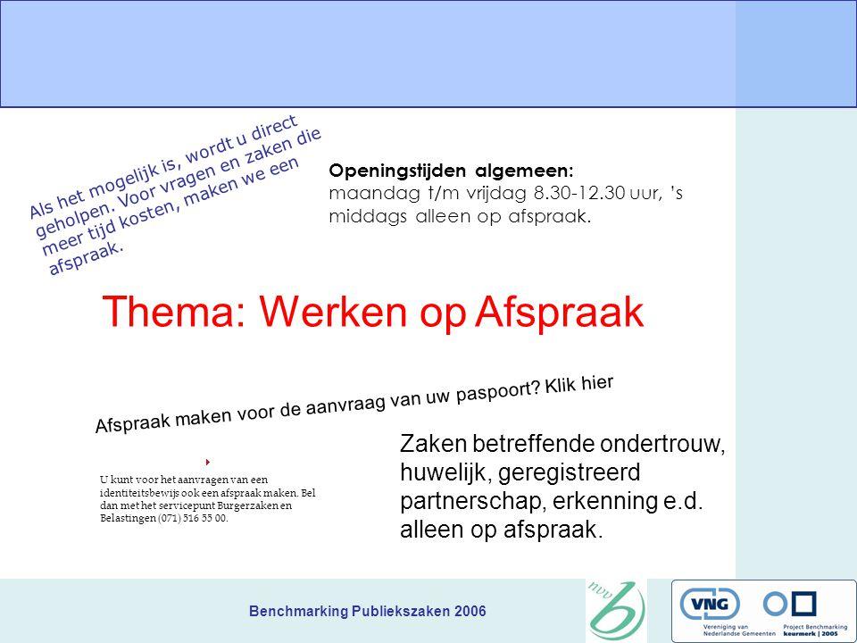 Benchmarking Publiekszaken 2006 Plenaire terugkoppeling collegiaal advies