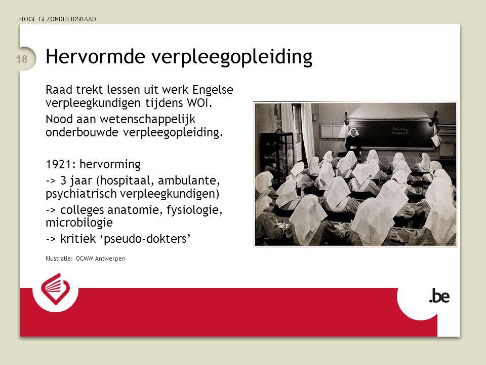 HOGE GEZONDHEIDSRAAD 18 Hervormde verpleegopleiding Raad trekt lessen uit werk Engelse verpleegkundigen tijdens WOI.