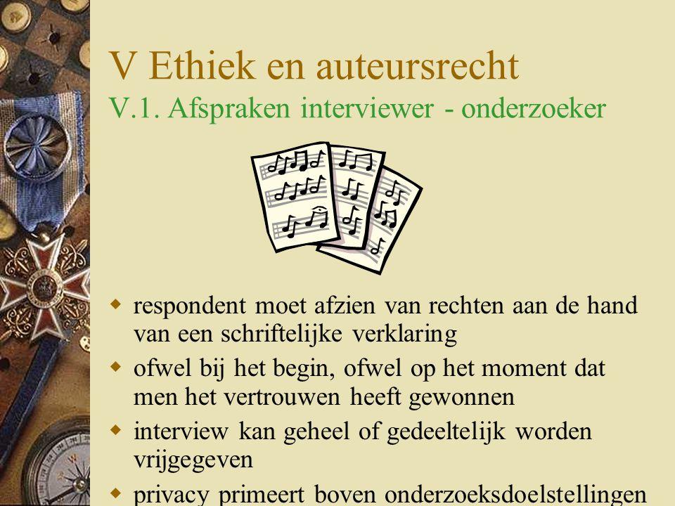 V Ethiek en auteursrecht V.1.