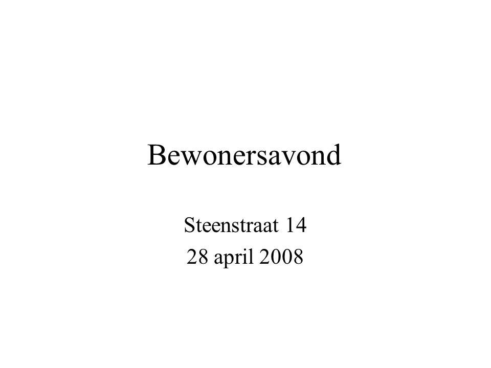 Bewonersavond Steenstraat 14 28 april 2008