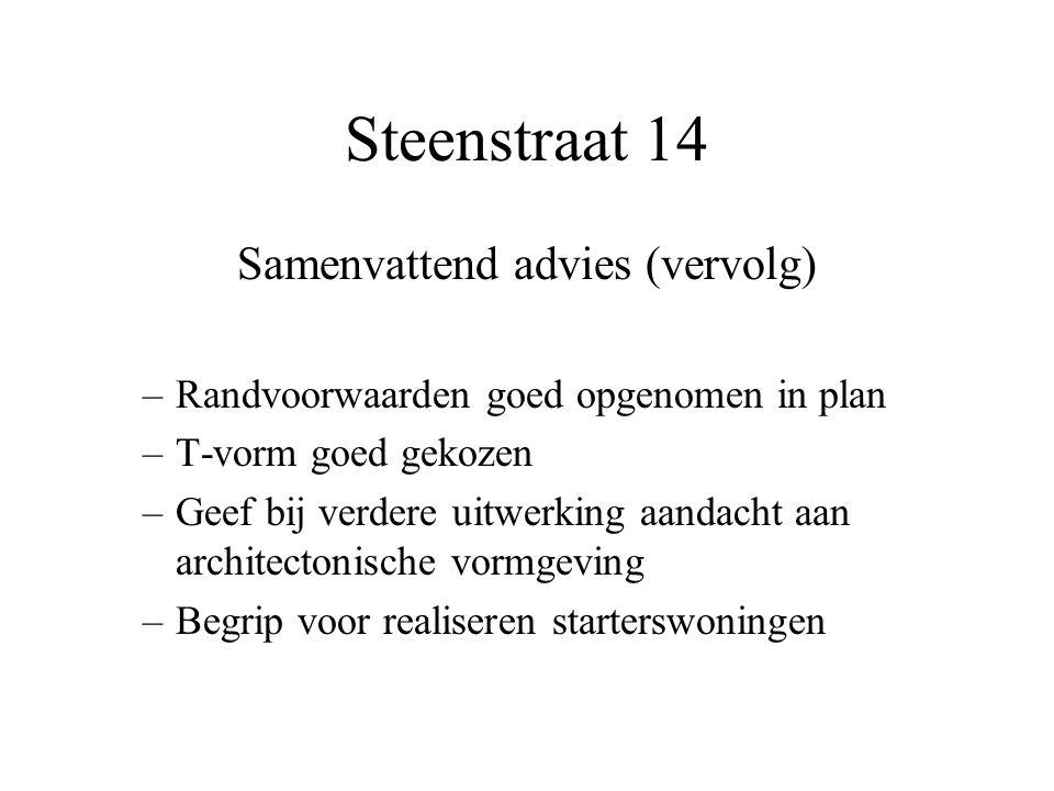 Steenstraat 14 Samenvattend advies (vervolg) –Randvoorwaarden goed opgenomen in plan –T-vorm goed gekozen –Geef bij verdere uitwerking aandacht aan ar