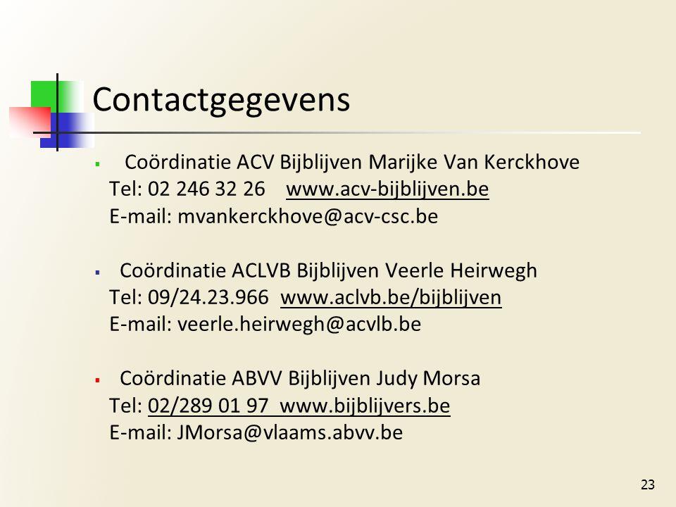 Contactgegevens  Coördinatie ACV Bijblijven Marijke Van Kerckhove Tel: 02 246 32 26 www.acv-bijblijven.be E-mail: mvankerckhove@acv-csc.be  Coördinatie ACLVB Bijblijven Veerle Heirwegh Tel: 09/24.23.966 www.aclvb.be/bijblijven E-mail: veerle.heirwegh@acvlb.be  Coördinatie ABVV Bijblijven Judy Morsa Tel: 02/289 01 97 www.bijblijvers.be E-mail: JMorsa@vlaams.abvv.be 23