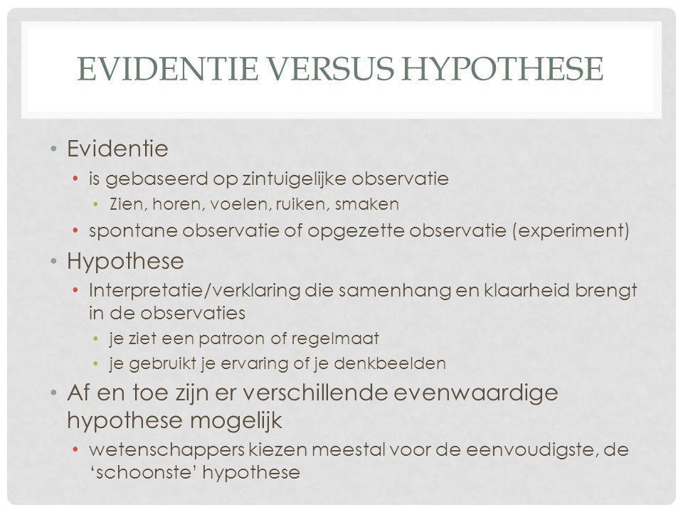 EVIDENTIE VERSUS HYPOTHESE • Evidentie • is gebaseerd op zintuigelijke observatie • Zien, horen, voelen, ruiken, smaken • spontane observatie of opgez