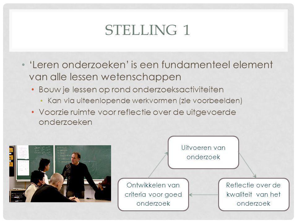 STELLING 2 • 'Leren onderzoeken' is even belangrijk in alle graden • Leerlijn volgens de complexiteit van de problemen en niet volgens de mate van zelfstandigheid (eindtermen).