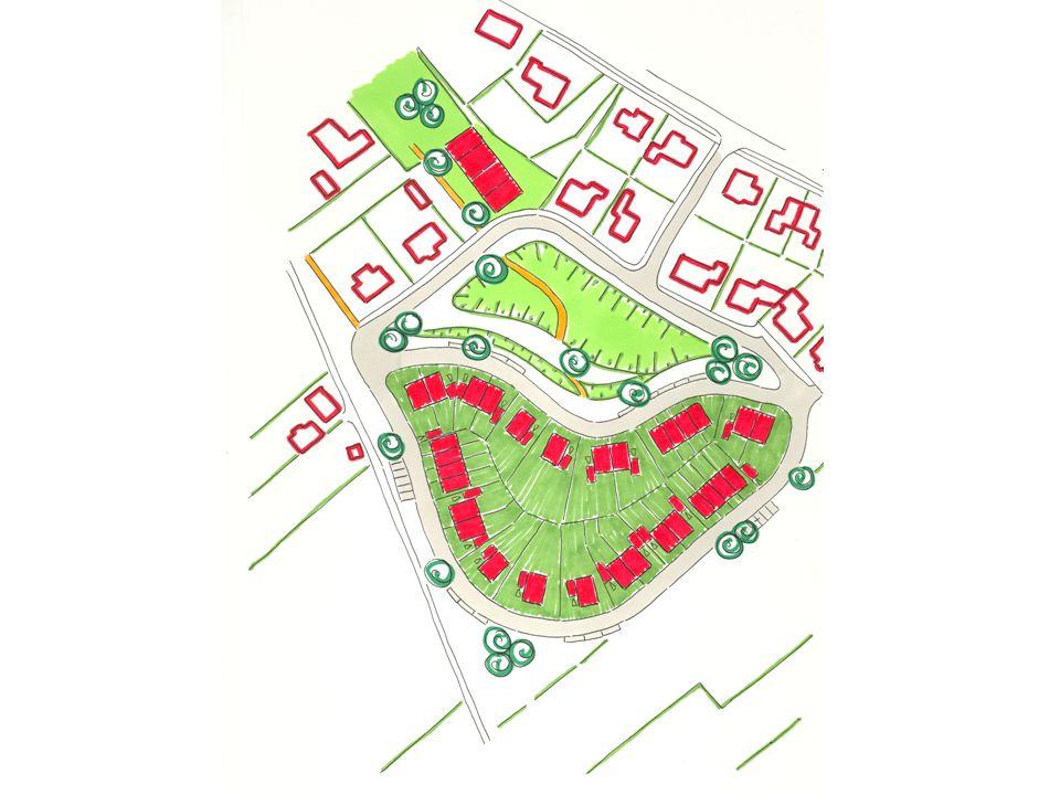 Stedenbouwkundig plan Uitgangspunten: •Aansluiten bij Aerdt •Speels opzet •Gevarieerd beeld •Voorkanten naar het buitengebied •Groene uitstraling