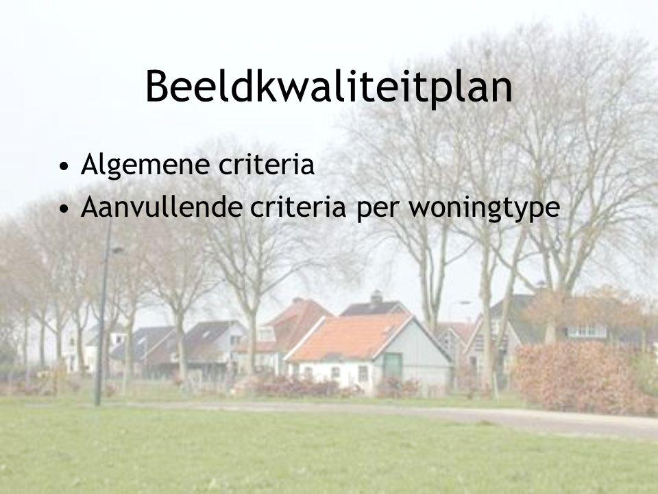 Beeldkwaliteitplan •Algemene criteria •Aanvullende criteria per woningtype