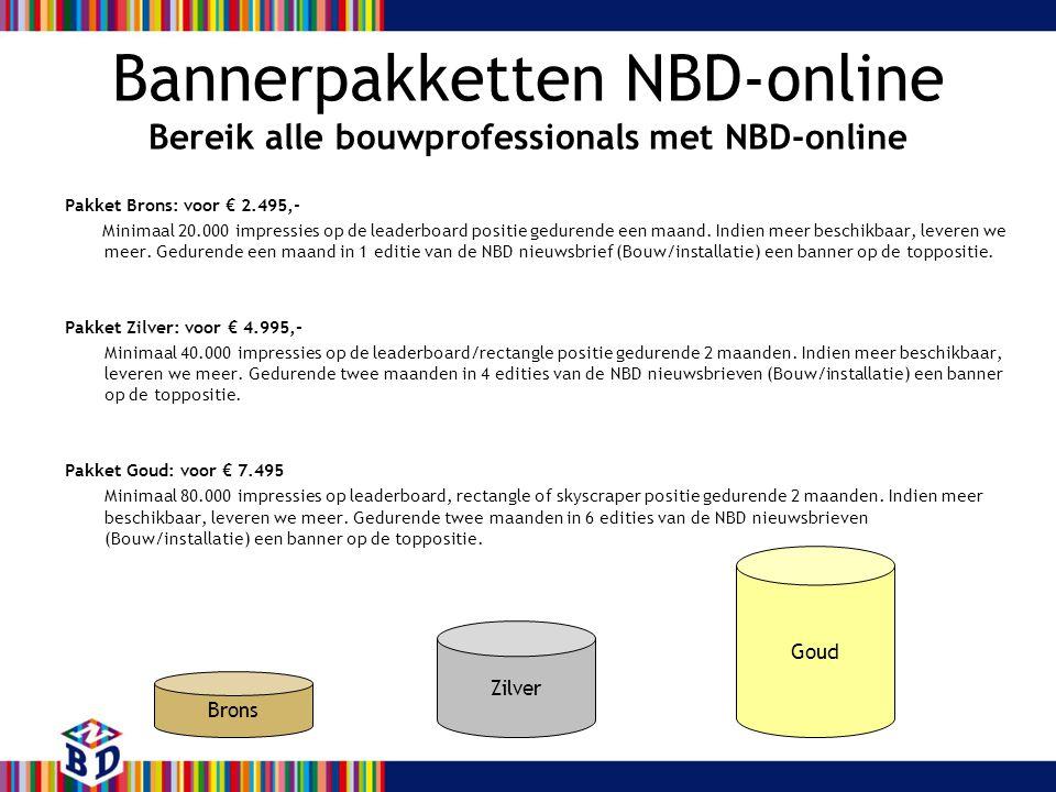 Bannerpakketten NBD-online Bereik alle bouwprofessionals met NBD-online Pakket Brons: voor € 2.495,- Minimaal 20.000 impressies op de leaderboard posi