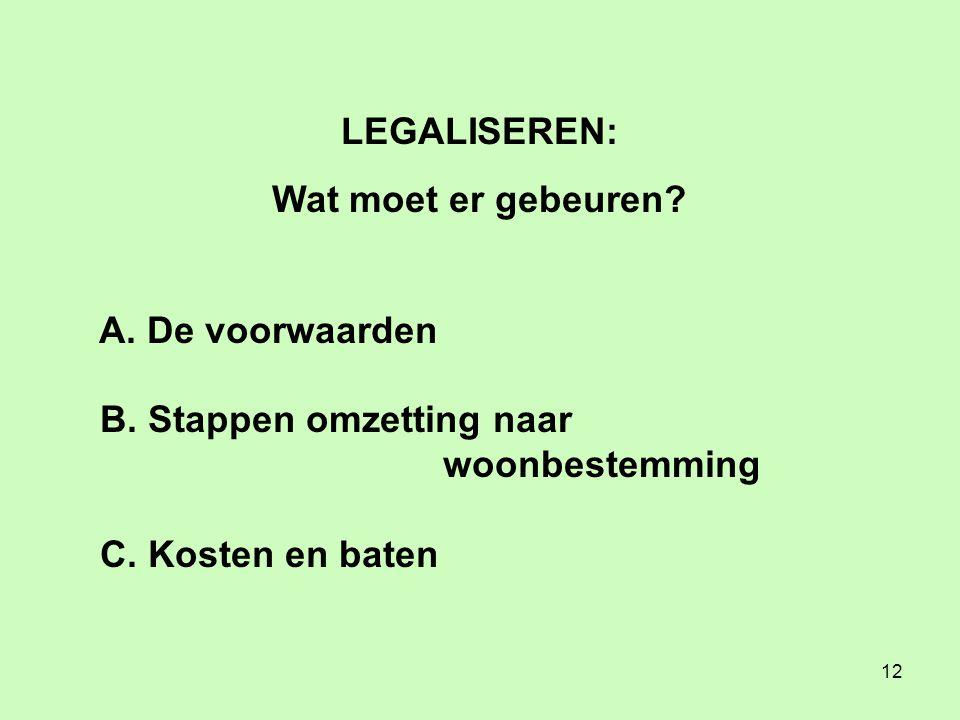 12 LEGALISEREN: Wat moet er gebeuren. A. De voorwaarden B.