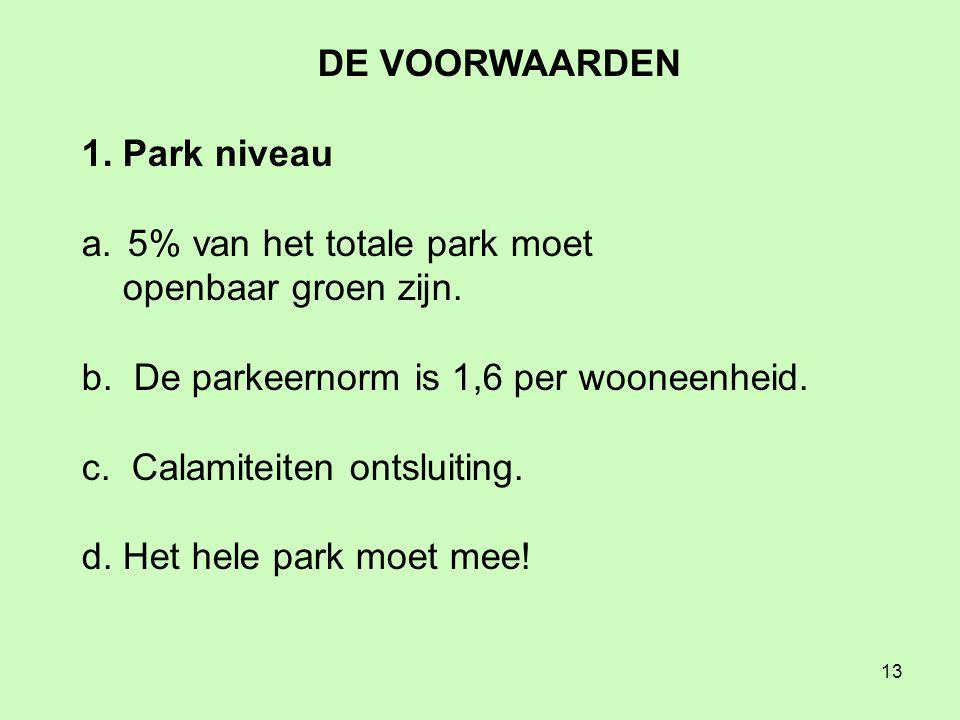 13 DE VOORWAARDEN 1. Park niveau a. 5% van het totale park moet openbaar groen zijn.