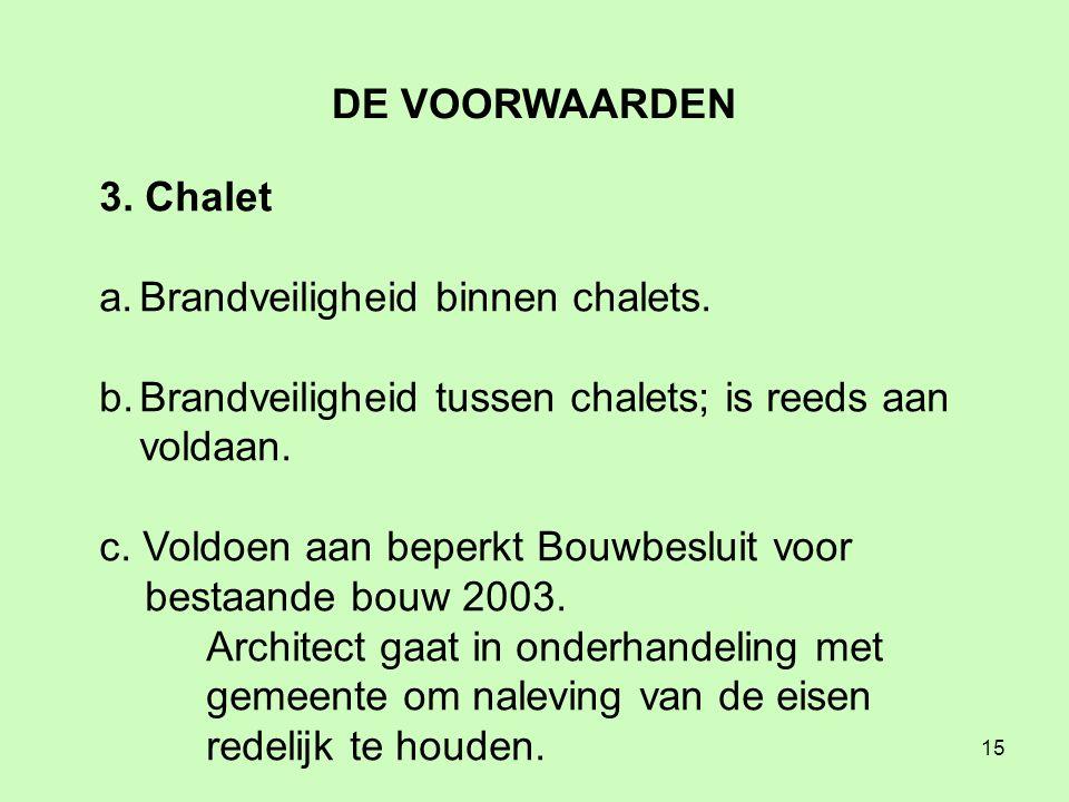 15 3. Chalet a.Brandveiligheid binnen chalets.