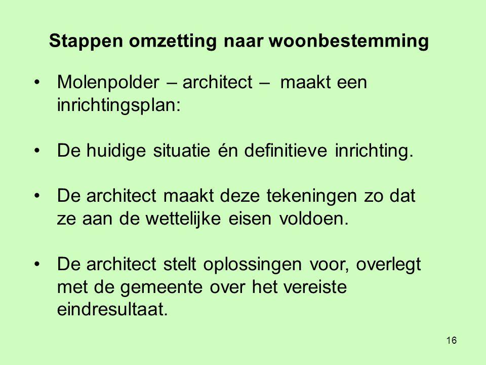 16 • Molenpolder – architect – maakt een inrichtingsplan: • De huidige situatie én definitieve inrichting.