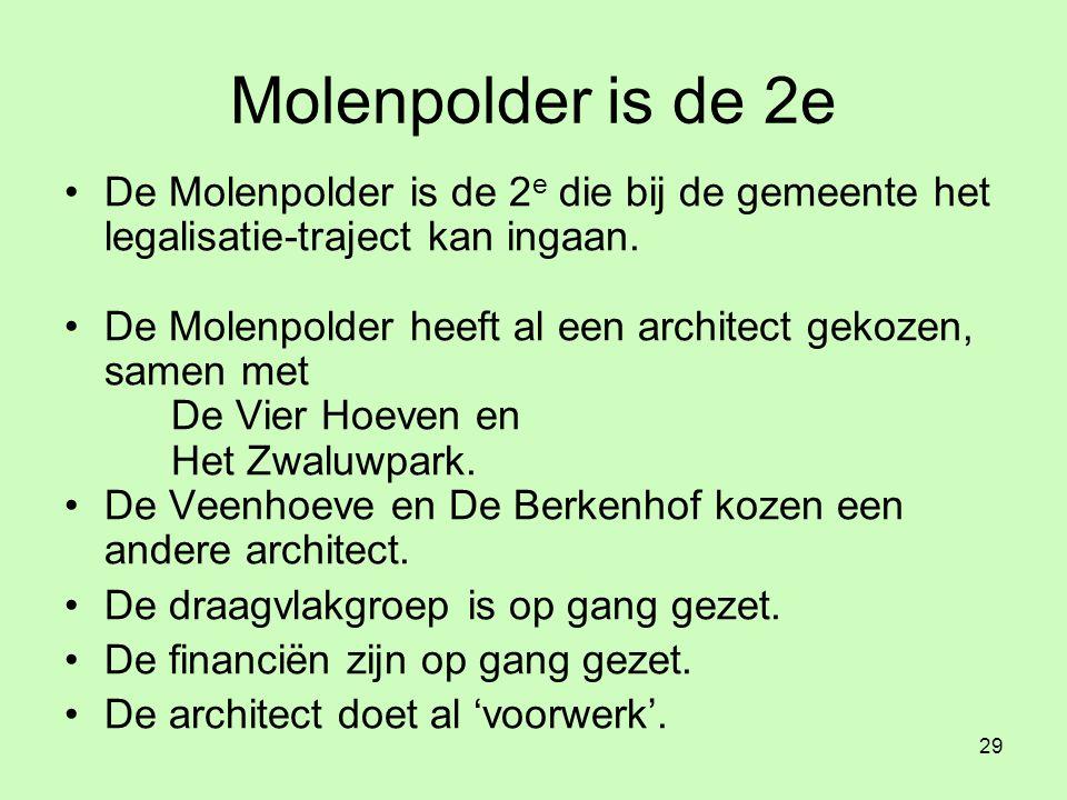 29 Molenpolder is de 2e •De Molenpolder is de 2 e die bij de gemeente het legalisatie-traject kan ingaan.
