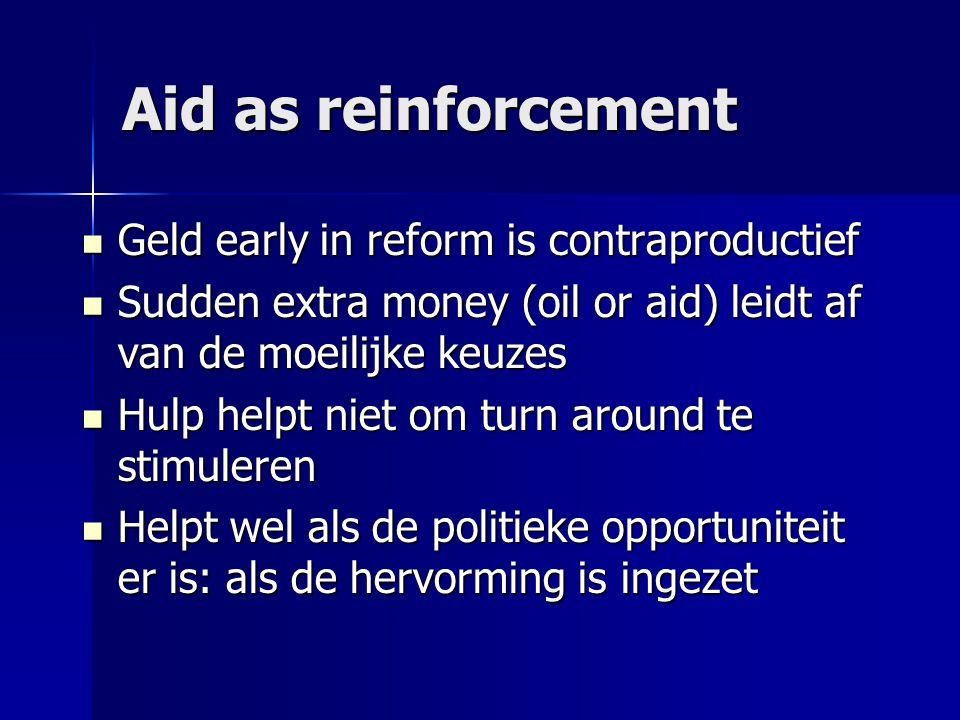 Aid as reinforcement  Geld early in reform is contraproductief  Sudden extra money (oil or aid) leidt af van de moeilijke keuzes  Hulp helpt niet om turn around te stimuleren  Helpt wel als de politieke opportuniteit er is: als de hervorming is ingezet
