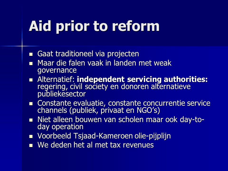 Aid prior to reform  Gaat traditioneel via projecten  Maar die falen vaak in landen met weak governance  Alternatief: independent servicing authori