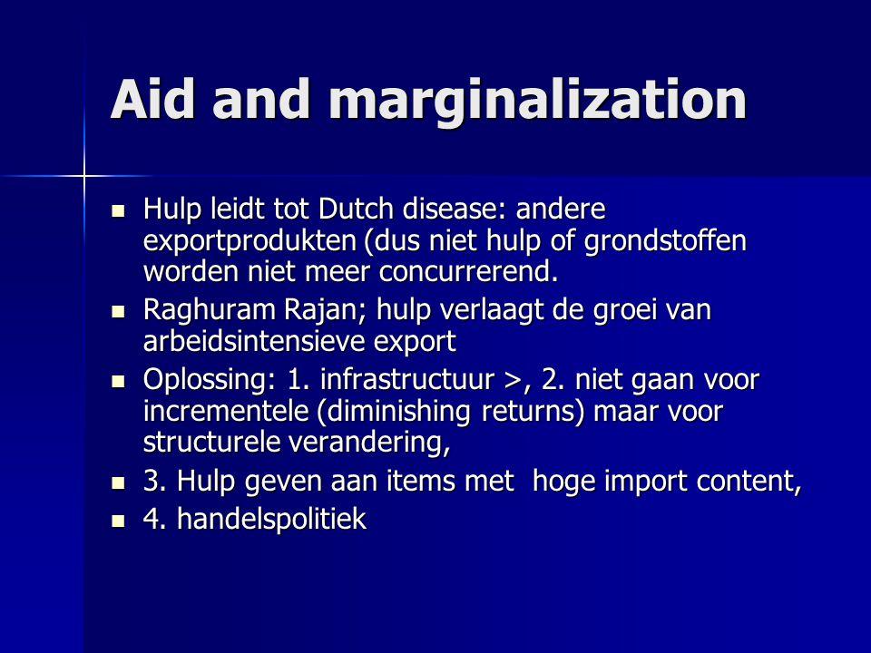 Aid and marginalization  Hulp leidt tot Dutch disease: andere exportprodukten (dus niet hulp of grondstoffen worden niet meer concurrerend.