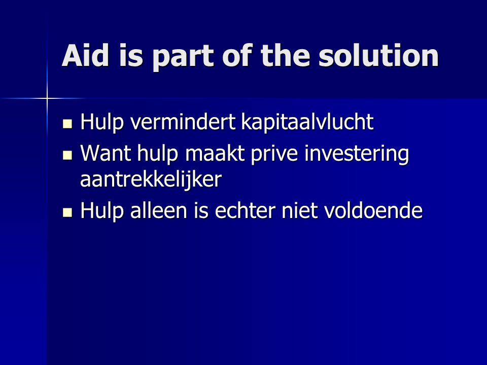Aid is part of the solution  Hulp vermindert kapitaalvlucht  Want hulp maakt prive investering aantrekkelijker  Hulp alleen is echter niet voldoend
