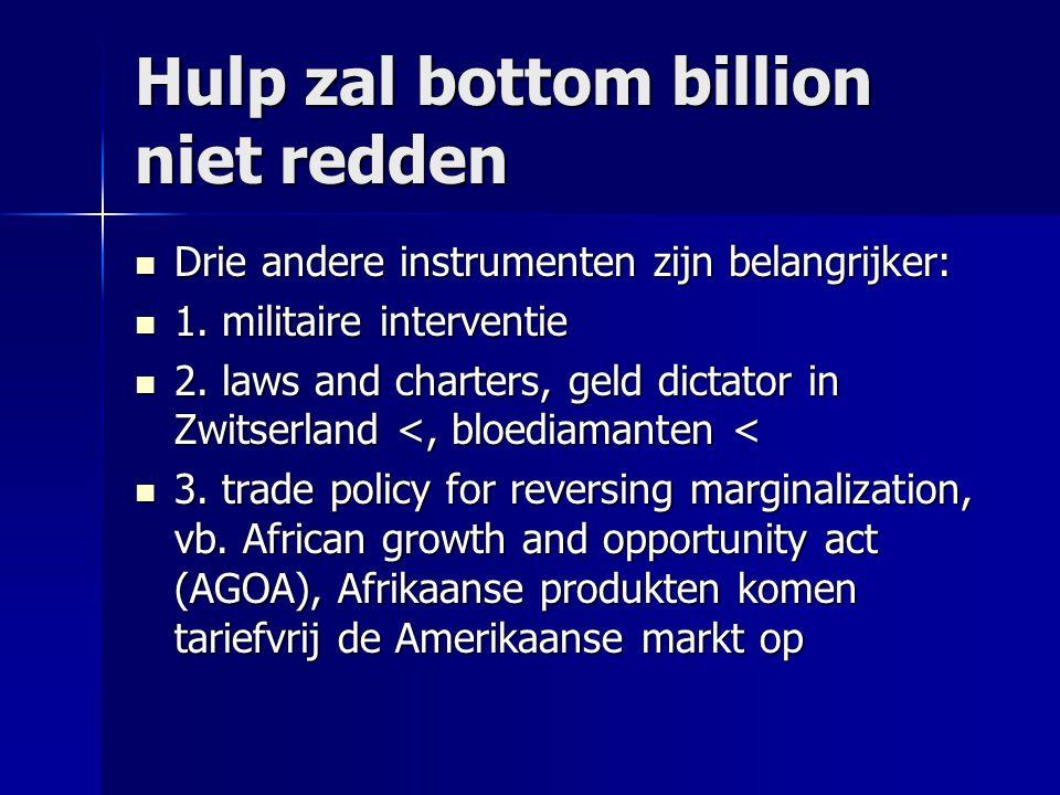 Hulp zal bottom billion niet redden  Drie andere instrumenten zijn belangrijker:  1. militaire interventie  2. laws and charters, geld dictator in