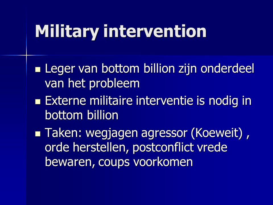 Military intervention  Leger van bottom billion zijn onderdeel van het probleem  Externe militaire interventie is nodig in bottom billion  Taken: w