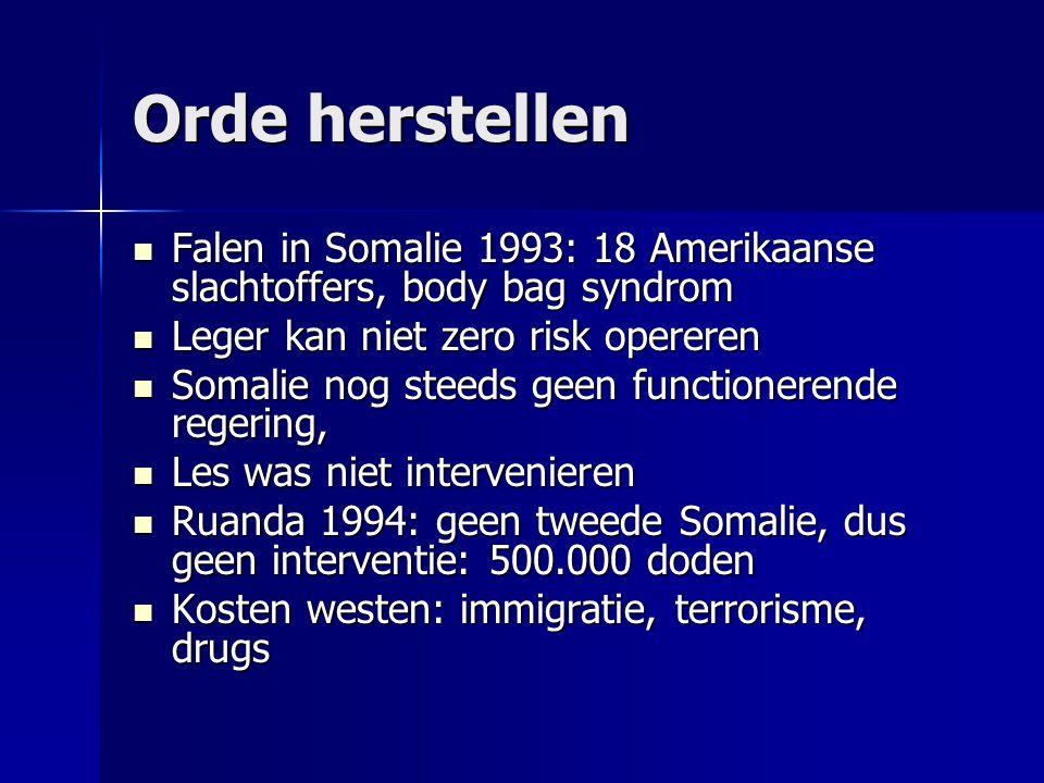 Orde herstellen  Falen in Somalie 1993: 18 Amerikaanse slachtoffers, body bag syndrom  Leger kan niet zero risk opereren  Somalie nog steeds geen functionerende regering,  Les was niet intervenieren  Ruanda 1994: geen tweede Somalie, dus geen interventie: 500.000 doden  Kosten westen: immigratie, terrorisme, drugs