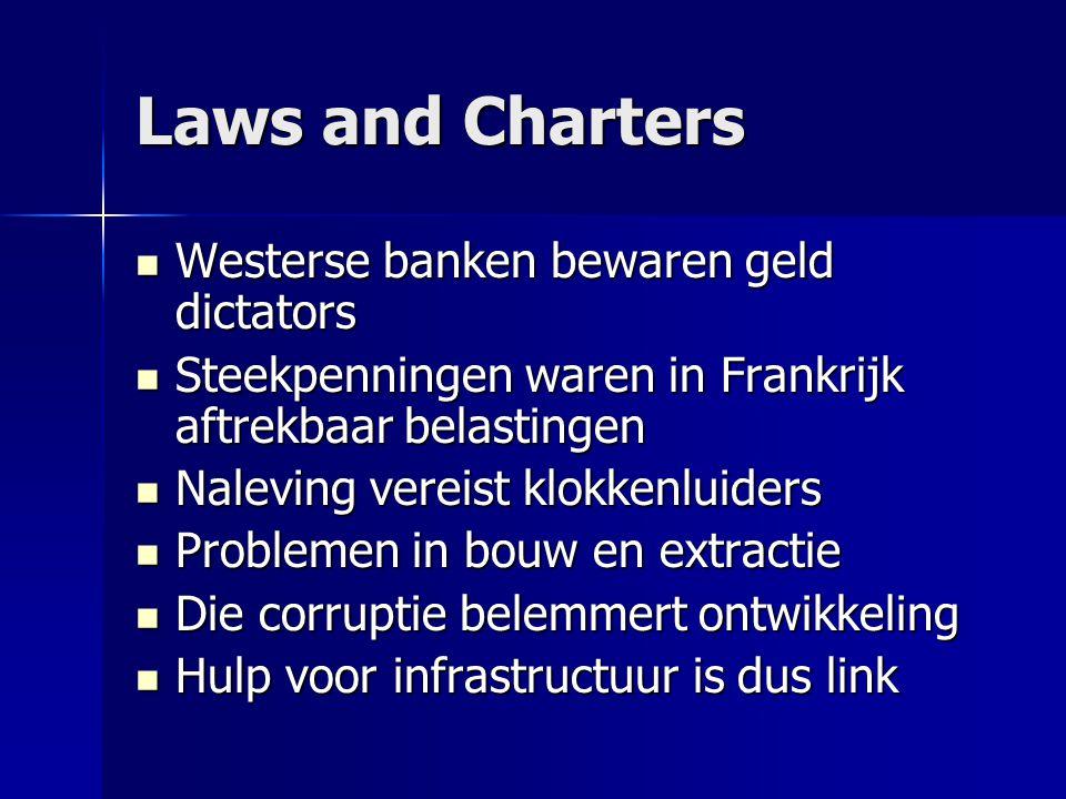 Laws and Charters  Westerse banken bewaren geld dictators  Steekpenningen waren in Frankrijk aftrekbaar belastingen  Naleving vereist klokkenluiders  Problemen in bouw en extractie  Die corruptie belemmert ontwikkeling  Hulp voor infrastructuur is dus link