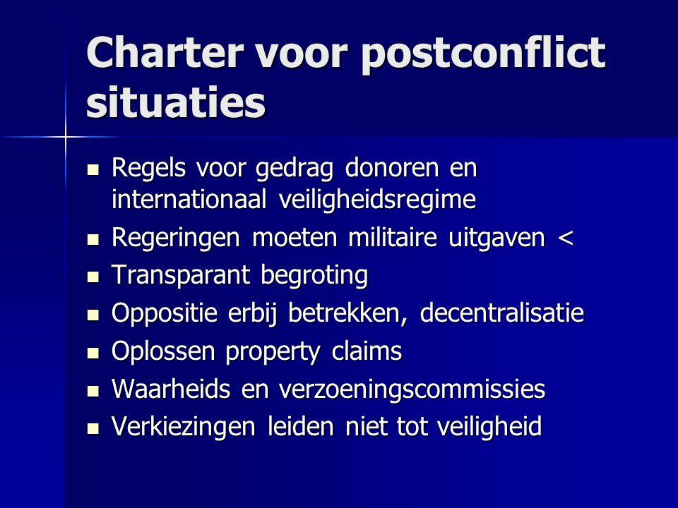 Charter voor postconflict situaties  Regels voor gedrag donoren en internationaal veiligheidsregime  Regeringen moeten militaire uitgaven <  Transp