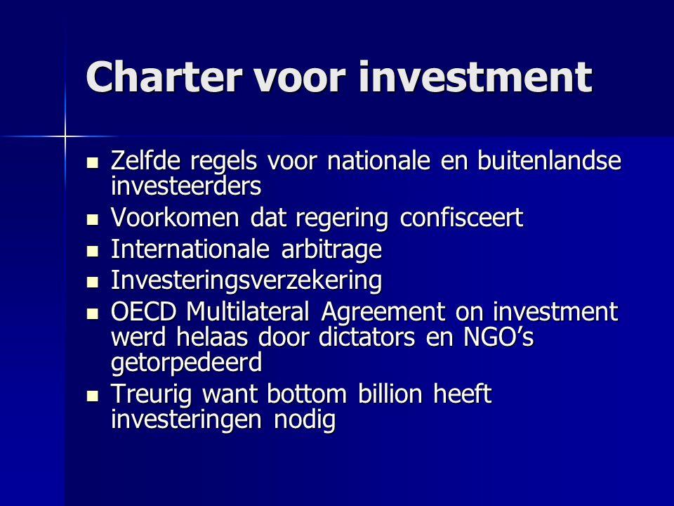 Charter voor investment  Zelfde regels voor nationale en buitenlandse investeerders  Voorkomen dat regering confisceert  Internationale arbitrage 