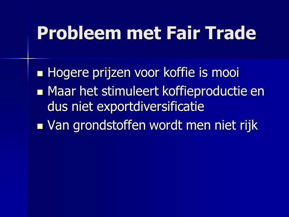 Probleem met Fair Trade  Hogere prijzen voor koffie is mooi  Maar het stimuleert koffieproductie en dus niet exportdiversificatie  Van grondstoffen wordt men niet rijk