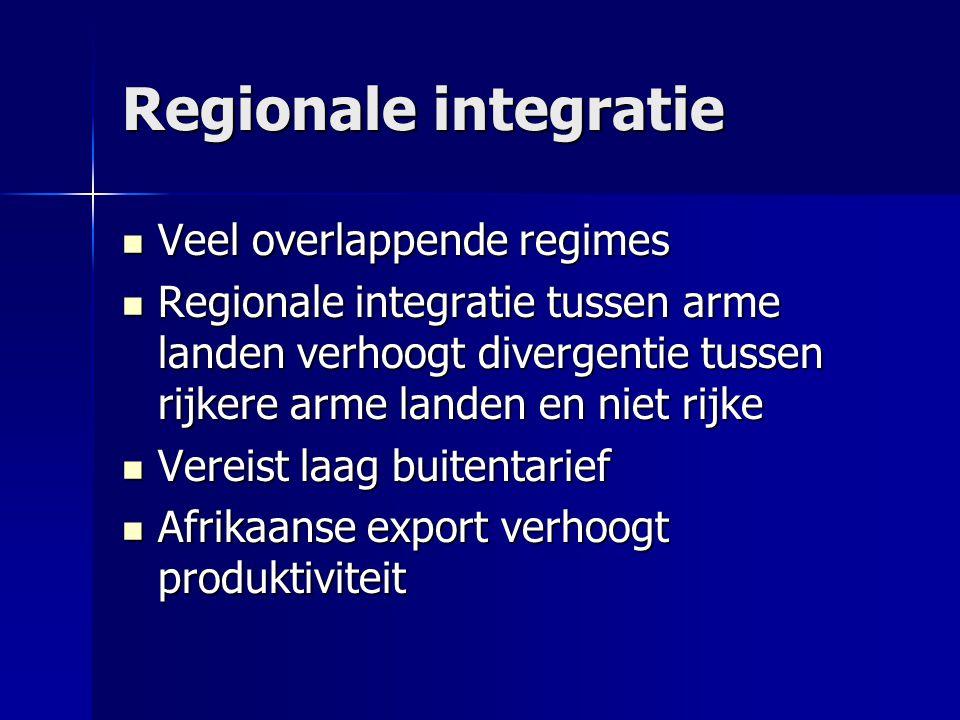 Regionale integratie  Veel overlappende regimes  Regionale integratie tussen arme landen verhoogt divergentie tussen rijkere arme landen en niet rijke  Vereist laag buitentarief  Afrikaanse export verhoogt produktiviteit