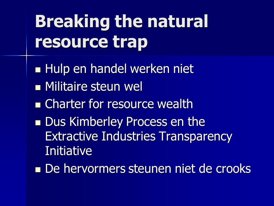 Breaking the natural resource trap  Hulp en handel werken niet  Militaire steun wel  Charter for resource wealth  Dus Kimberley Process en the Extractive Industries Transparency Initiative  De hervormers steunen niet de crooks