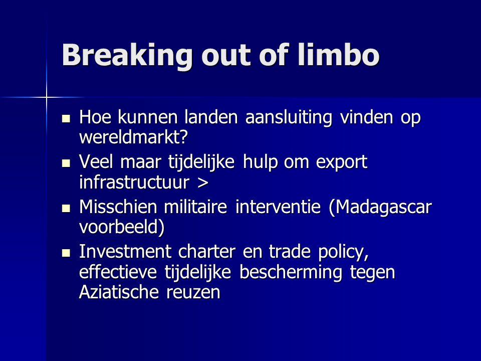Breaking out of limbo  Hoe kunnen landen aansluiting vinden op wereldmarkt?  Veel maar tijdelijke hulp om export infrastructuur >  Misschien milita