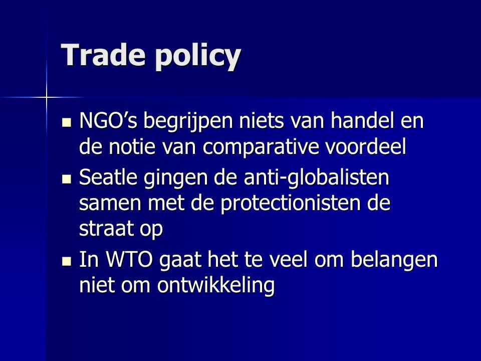 Trade policy  NGO's begrijpen niets van handel en de notie van comparative voordeel  Seatle gingen de anti-globalisten samen met de protectionisten de straat op  In WTO gaat het te veel om belangen niet om ontwikkeling