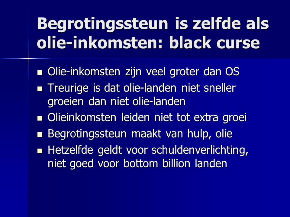 Begrotingssteun is zelfde als olie-inkomsten: black curse  Olie-inkomsten zijn veel groter dan OS  Treurige is dat olie-landen niet sneller groeien