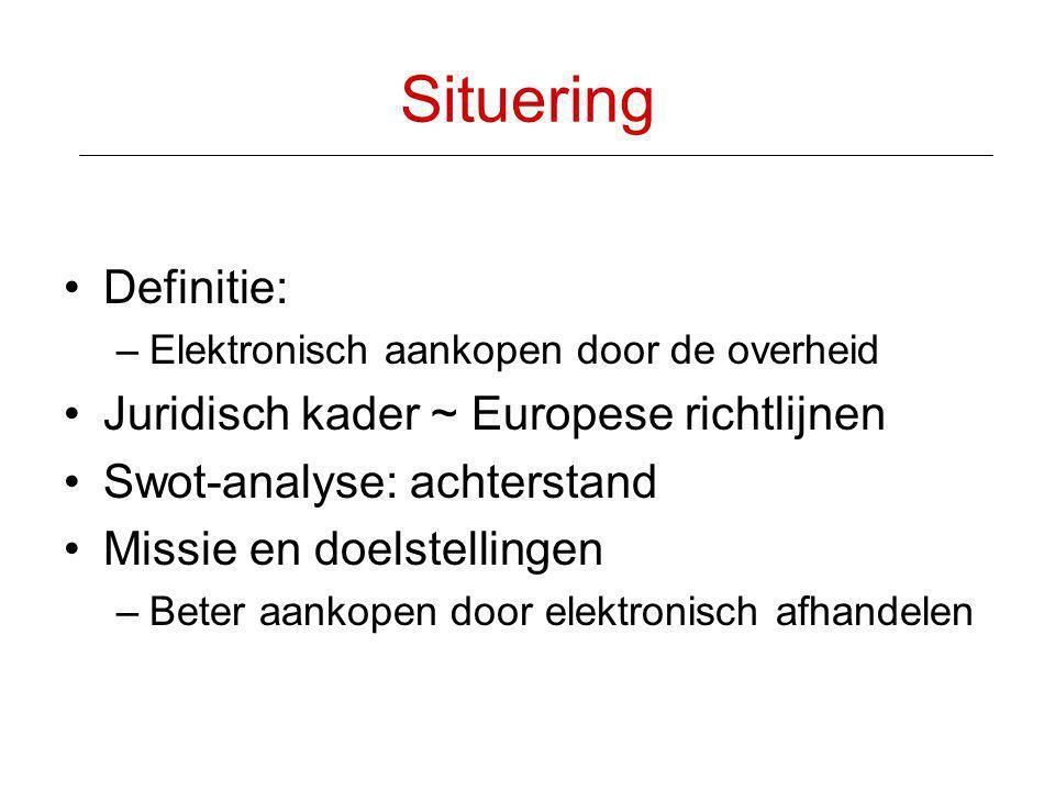 Situering •Definitie: –Elektronisch aankopen door de overheid •Juridisch kader ~ Europese richtlijnen •Swot-analyse: achterstand •Missie en doelstelli
