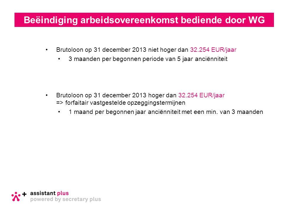 •Brutoloon op 31 december 2013 niet hoger dan 32.254 EUR/jaar •3 maanden per begonnen periode van 5 jaar anciënniteit •Brutoloon op 31 december 2013 h