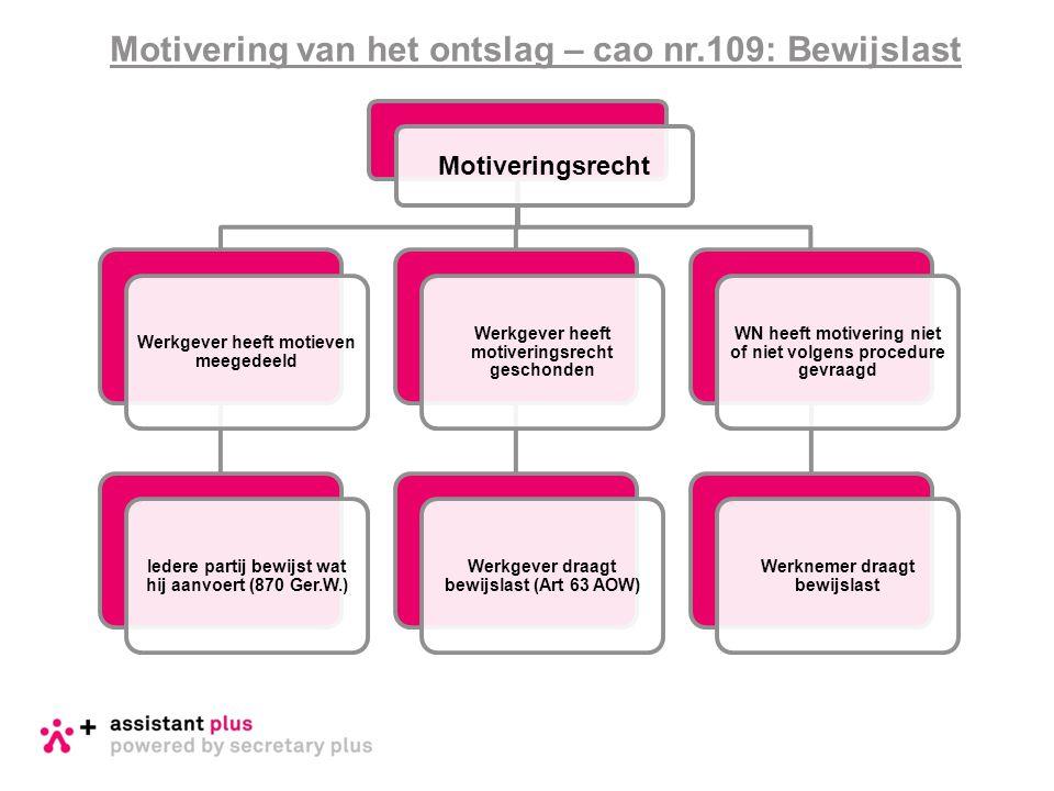 Motivering van het ontslag – cao nr.109: Bewijslast Motiveringsrecht Werkgever heeft motieven meegedeeld Iedere partij bewijst wat hij aanvoert (870 G