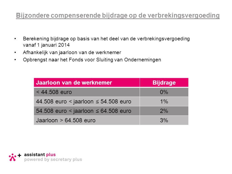 •Berekening bijdrage op basis van het deel van de verbrekingsvergoeding vanaf 1 januari 2014 •Afhankelijk van jaarloon van de werknemer •Opbrengst naa