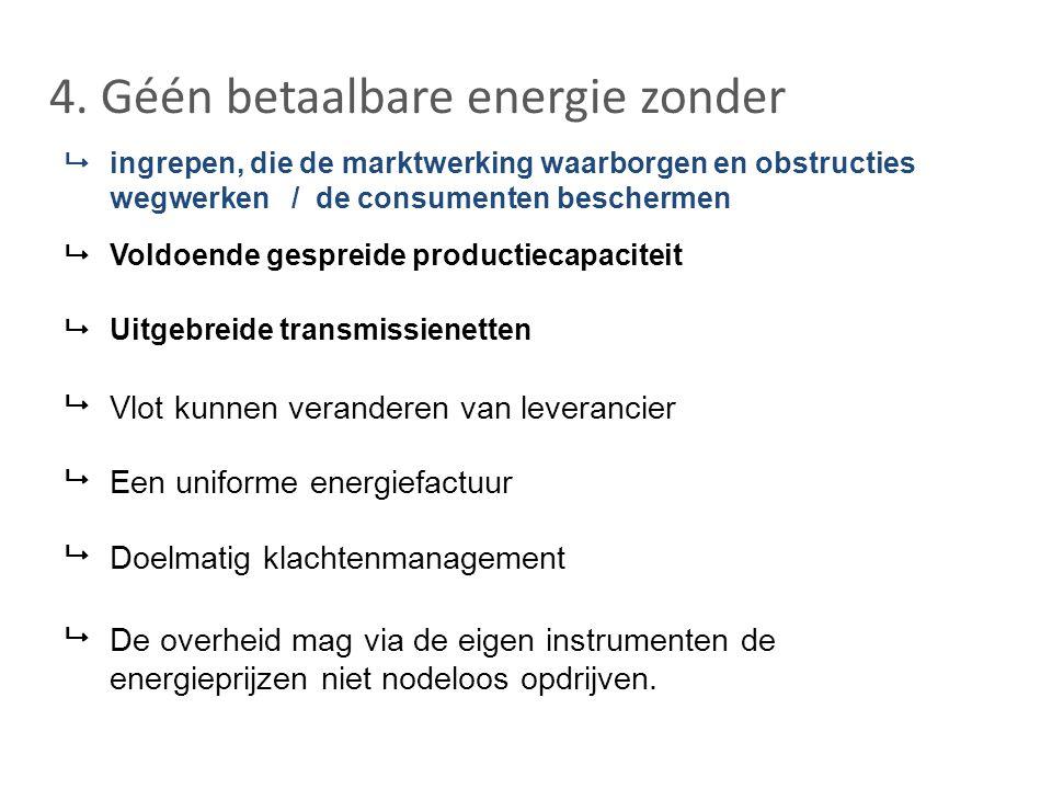 4. Géén betaalbare energie zonder  ingrepen, die de marktwerking waarborgen en obstructies wegwerken / de consumenten beschermen  Voldoende gespreid