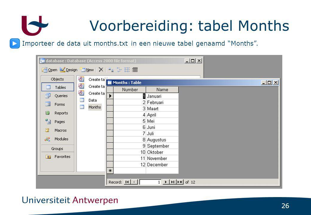 """26 Voorbereiding: tabel Months Importeer de data uit months.txt in een nieuwe tabel genaamd """"Months""""."""