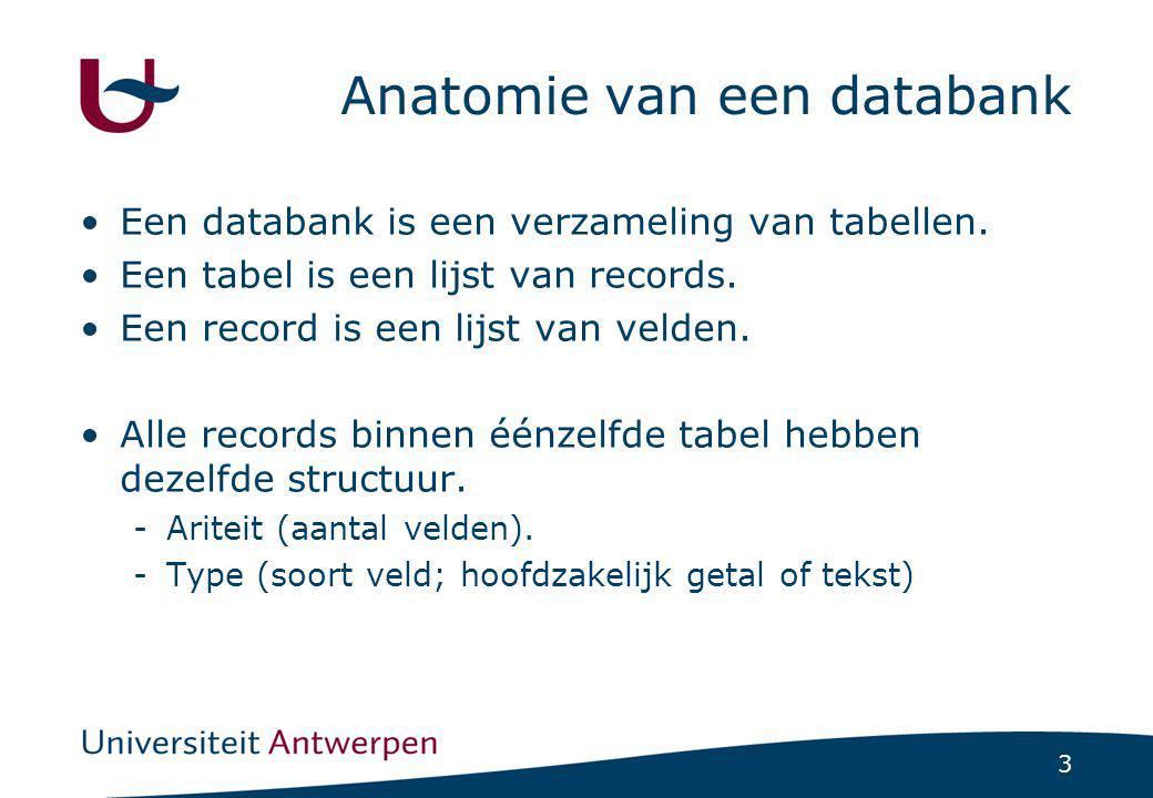3 Anatomie van een databank •Een databank is een verzameling van tabellen. •Een tabel is een lijst van records. •Een record is een lijst van velden. •