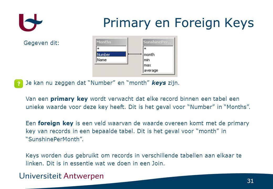 """31 Primary en Foreign Keys Gegeven dit: Je kan nu zeggen dat """"Number"""" en """"month"""" keys zijn. Van een primary key wordt verwacht dat elke record binnen"""