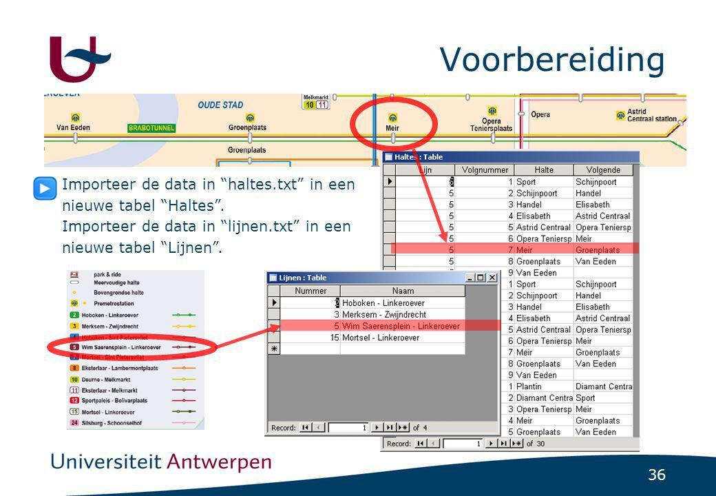 """36 Voorbereiding Importeer de data in """"haltes.txt"""" in een nieuwe tabel """"Haltes"""". Importeer de data in """"lijnen.txt"""" in een nieuwe tabel """"Lijnen""""."""